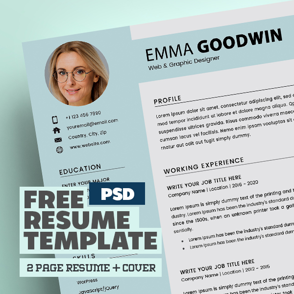 Free Resume 2 Page + Cover Letter Templates (PSD)