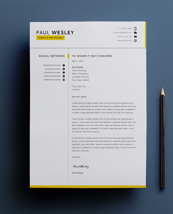 Free CV template & cover letter (PSD) + business card - 1