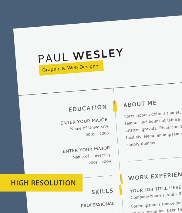 Free CV template & cover letter (PSD) + business card - 3