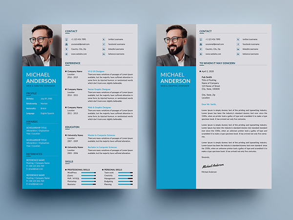 Free Resume + Cover Letter Templates (PSD) - 6