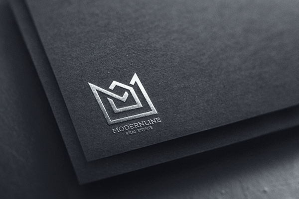 Free Silver Logo Mockup on Black Paper