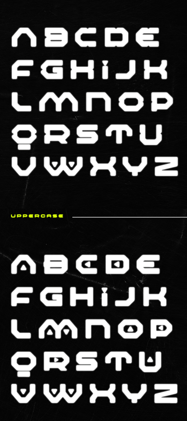 Nicro Force Free Font Letters
