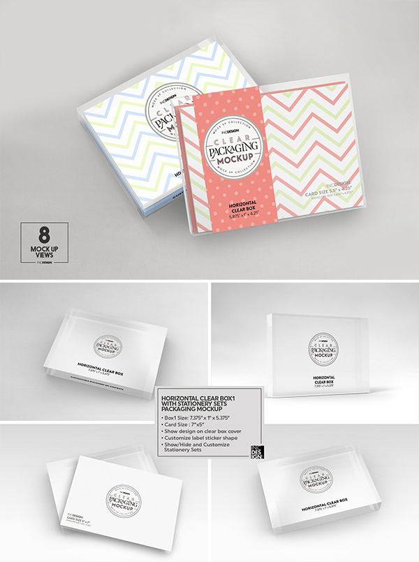 Clear Box with Stationery Set Mockup