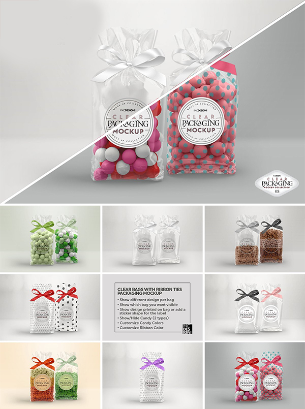 Clear Candy Bags with Ribbon Mockup