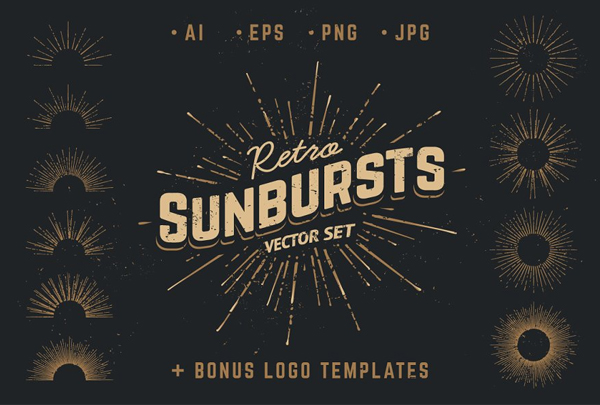 Retro Sunbursts Vector Set
