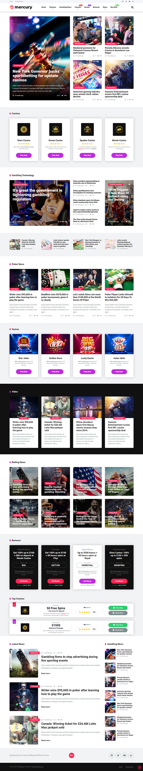 Mercury - Gambling & Casino Affiliate WordPress Theme