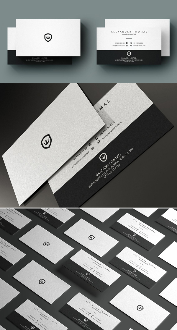 Black And White Business Card Template