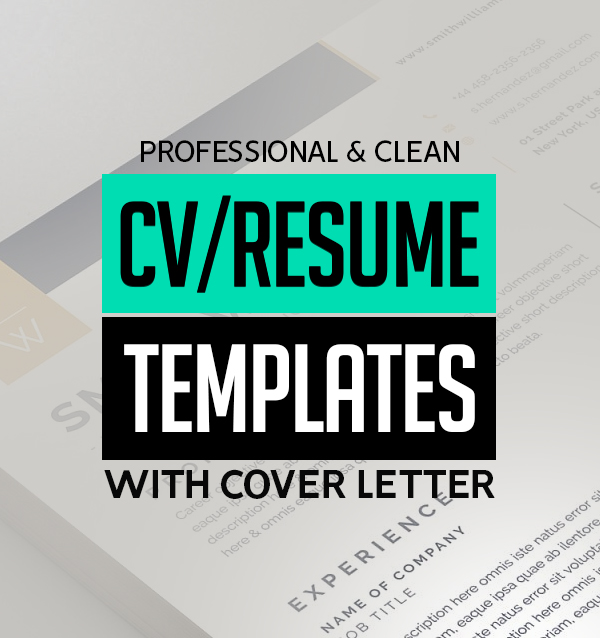 21 Clean CV / Resume Templates with Cover Letter