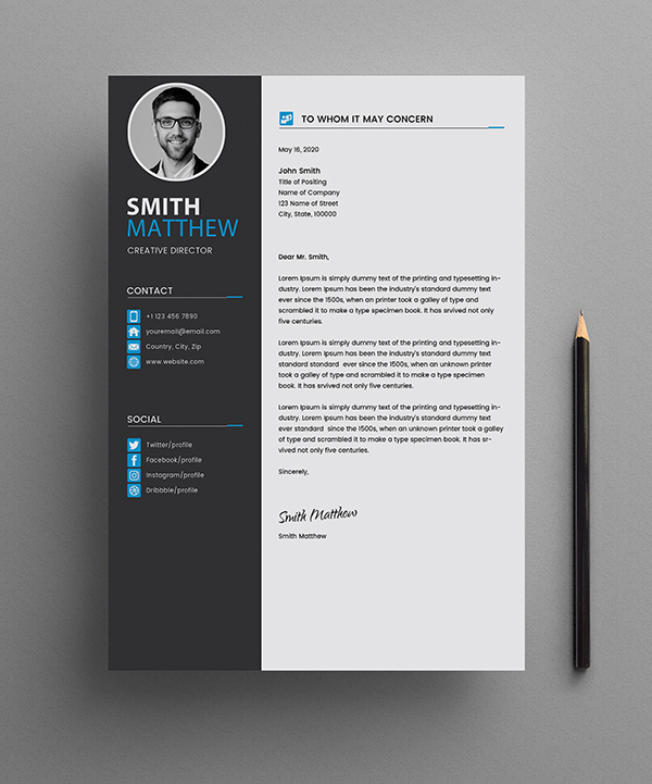 Free CV Resume Templates Cover Letter