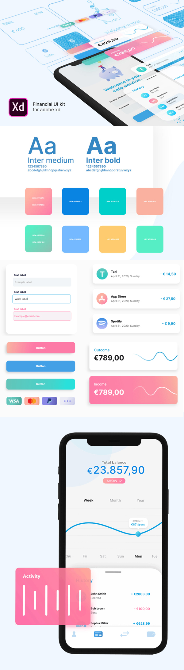 Free Financial UI Kit for Adobe XD Free Font