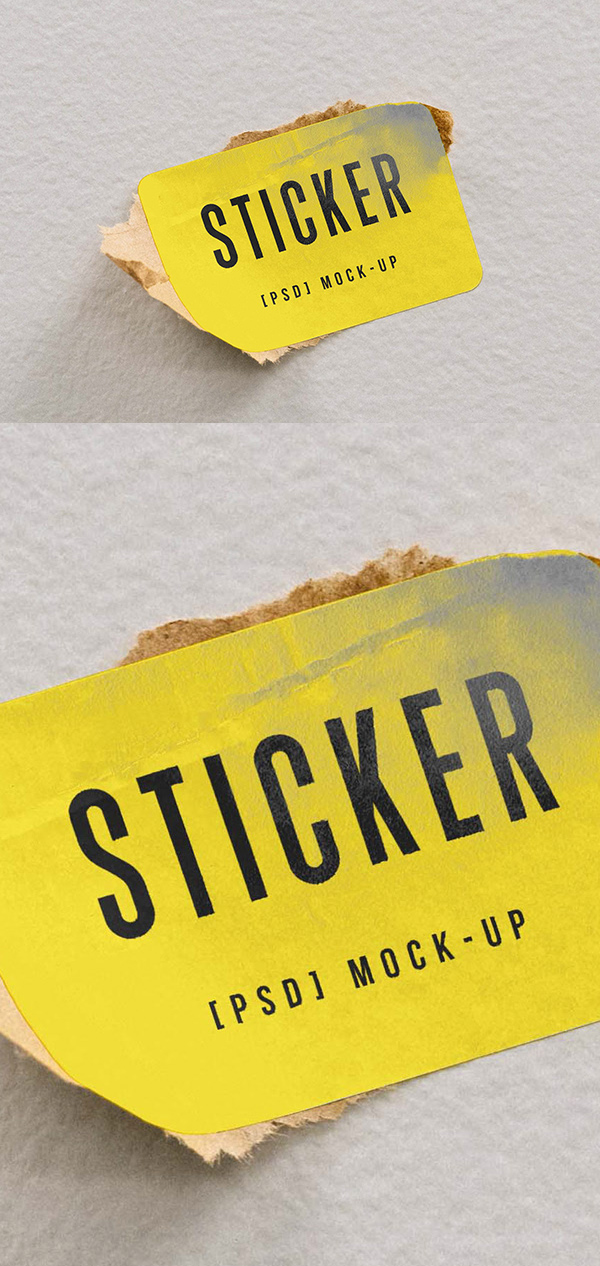 Free Rectangle Sticker Mockup