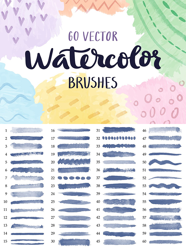 Vector Watercolor Brushes Collection