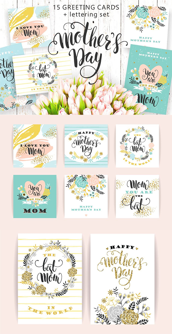 Mothers Day Lettering Greeting Cards