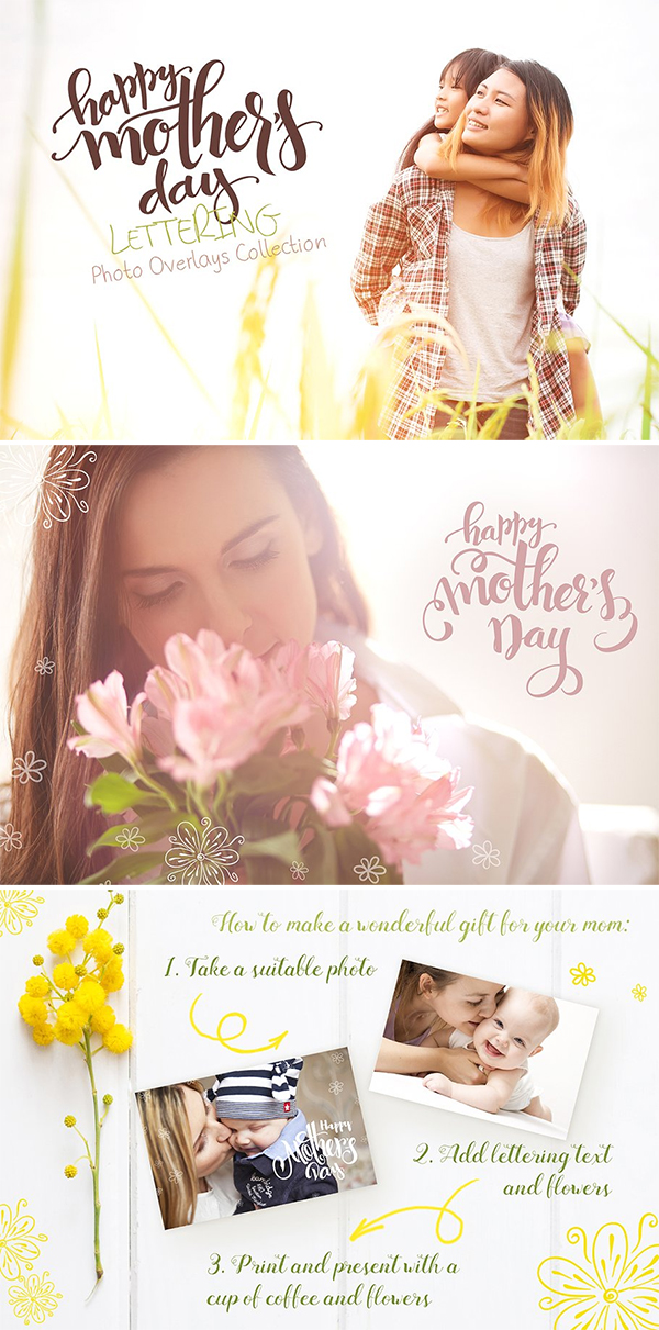 Mother's Day Lettering Overlays