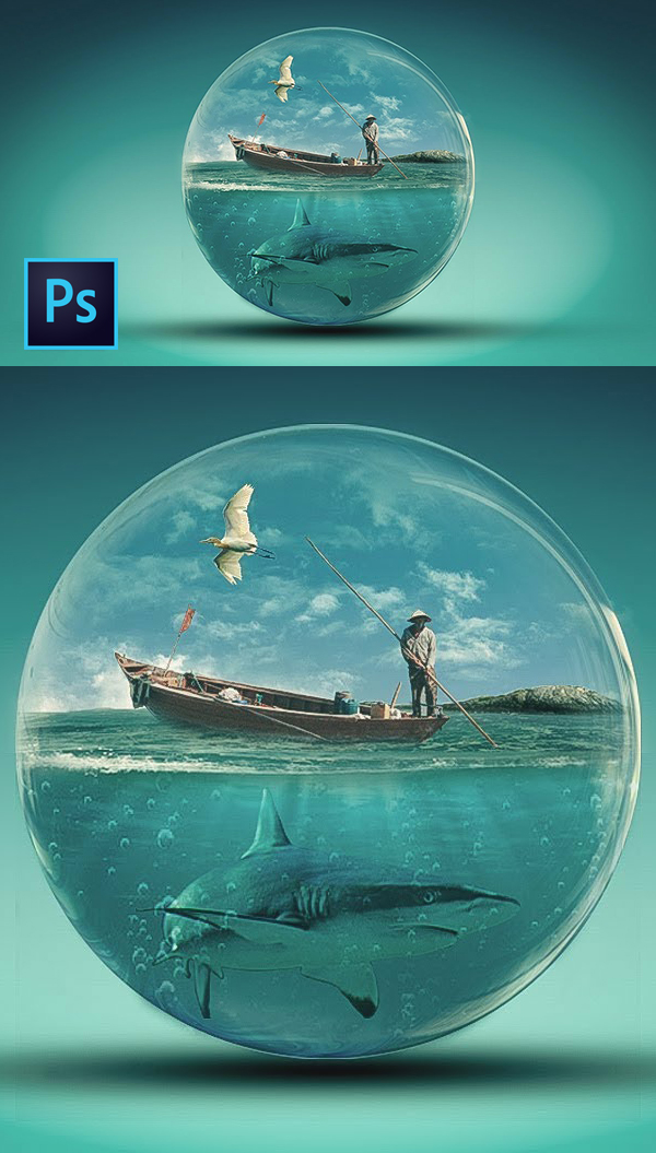 How to create a Photoshop manipulation for Glass World and a Photoshop tutorial for transparent effects
