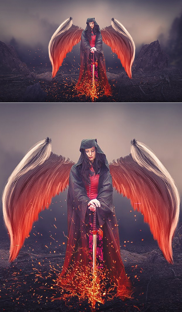 How to Create an Angle Using Sword Photoshop Manipulation and Digital Art Photoshop Tutorial