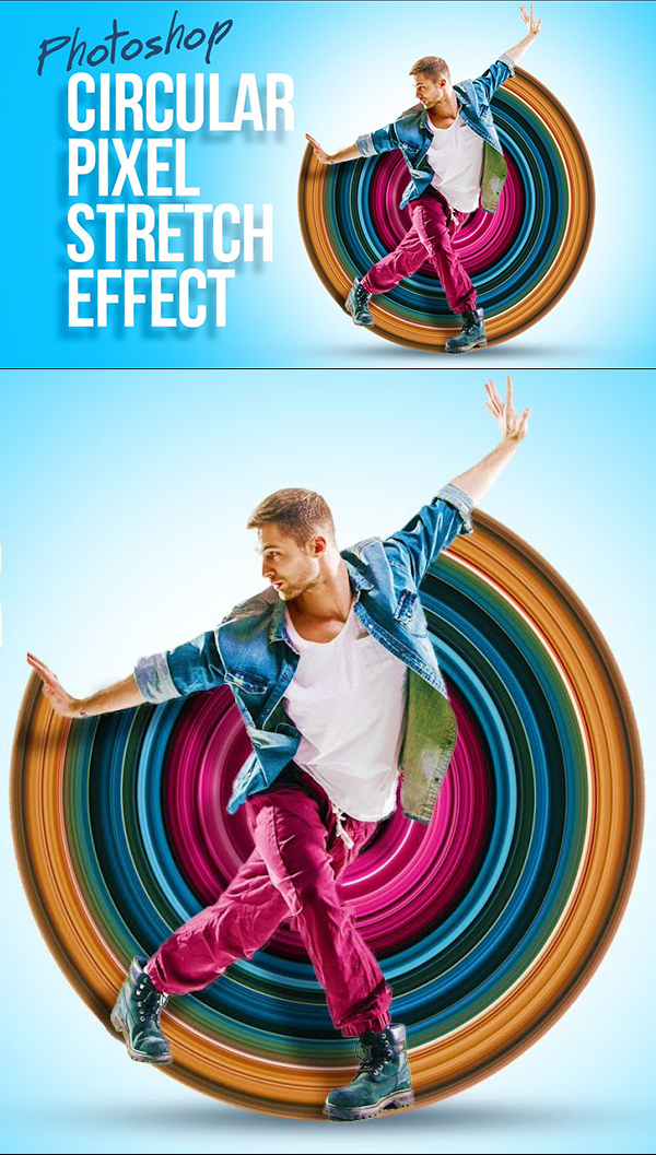 How to create a fantastic circular pixel stretch effect in Photoshop Tutorial
