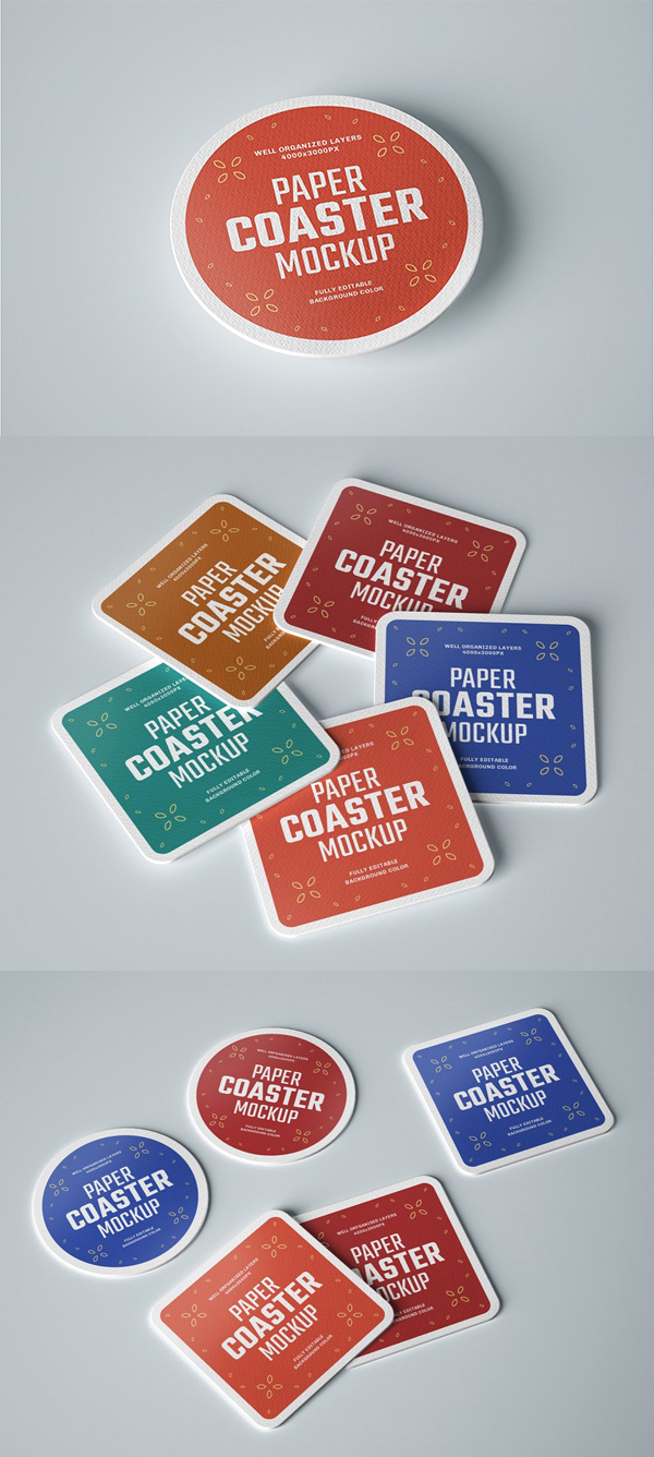Paper Beverage Coaster Mockup Set