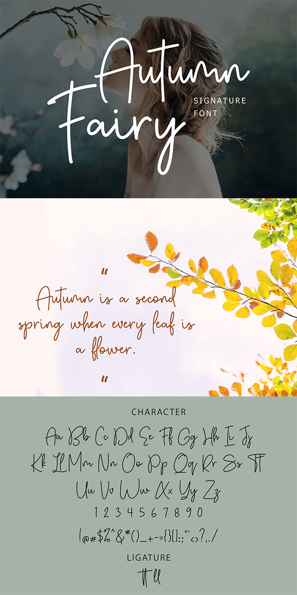 Autumn Fairy Signature Monoline Font