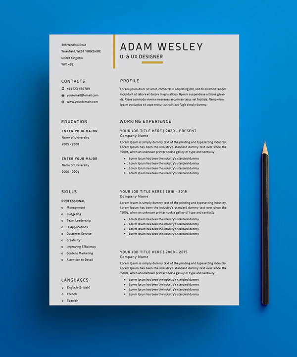 Free Simple Resume Template -1