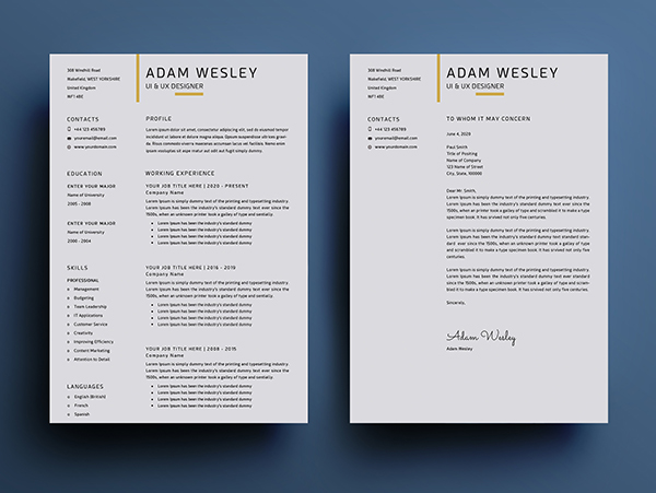 Free Simple Resume Template Design