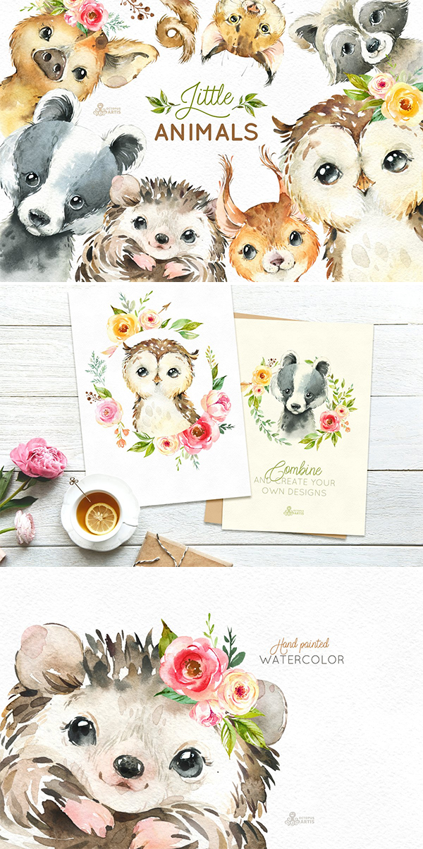 Woodland Little Watercolor Animals