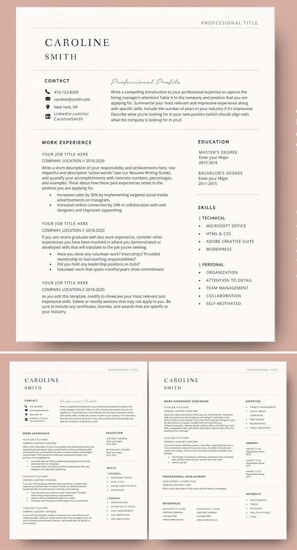 Resume Template Word & Cover Letter