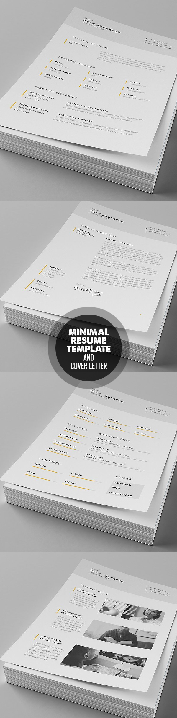 Minimal Resume   Cover Letter Template