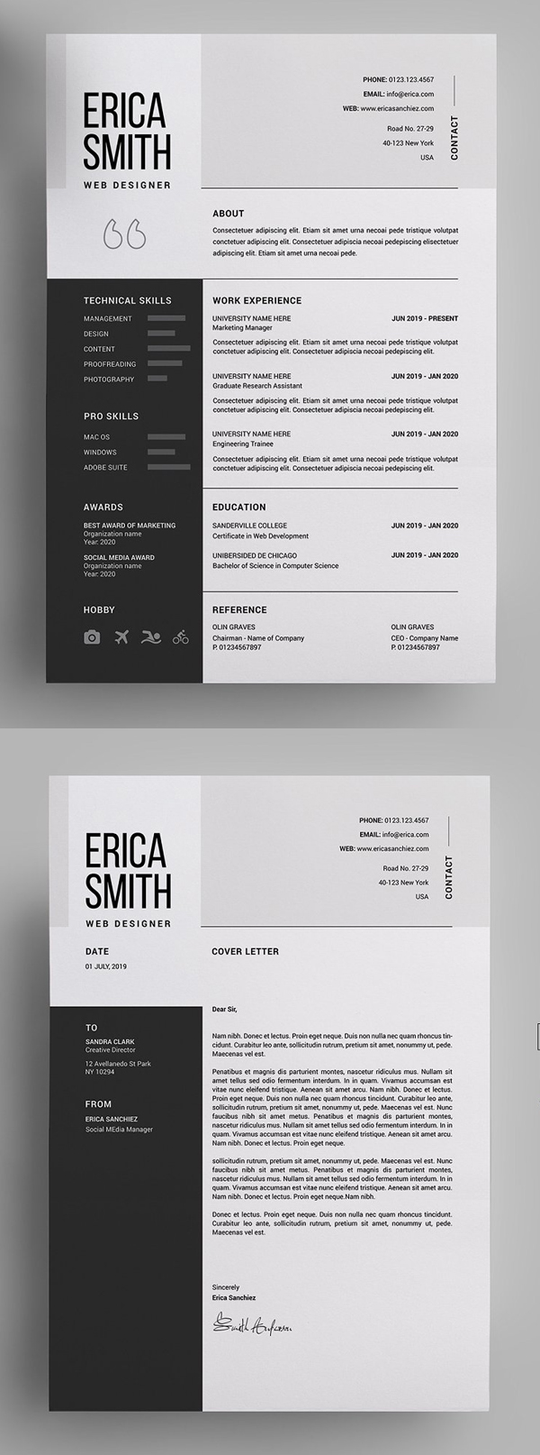 28 Best Cv Resume Templates With Cover Letter Design Graphic