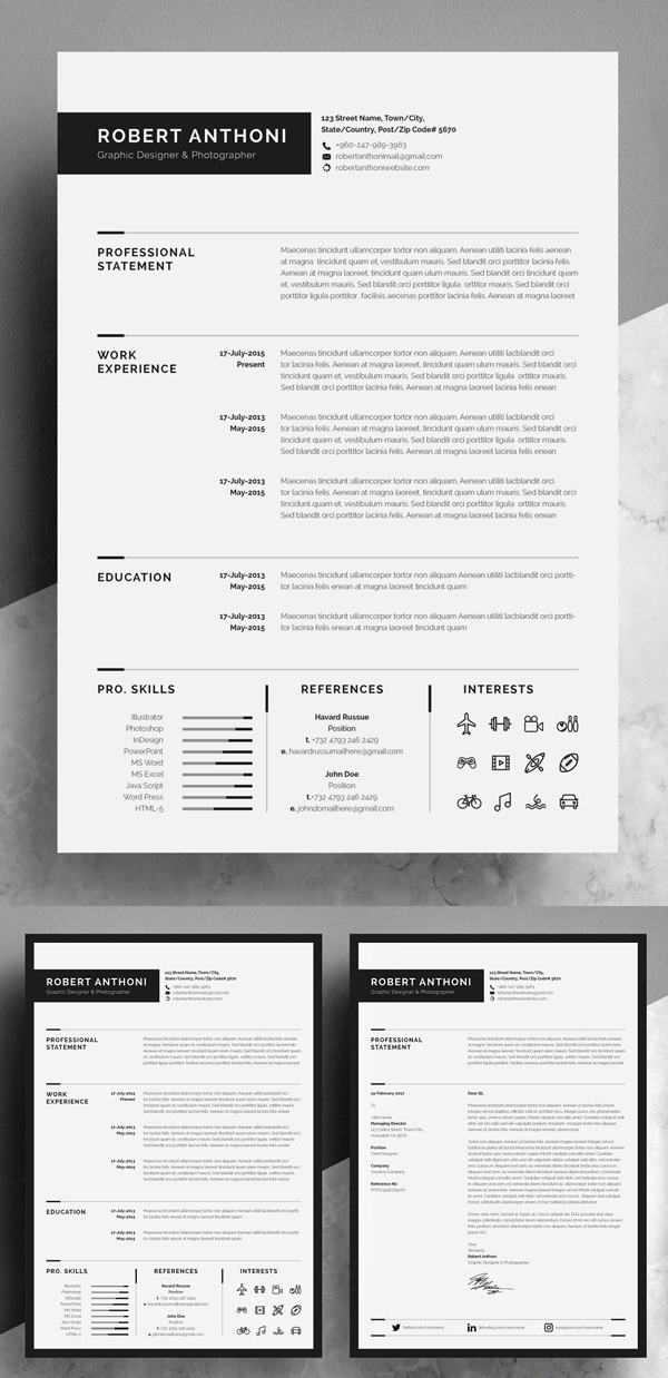 Clean Resume/CV High Class & Professional Design Template
