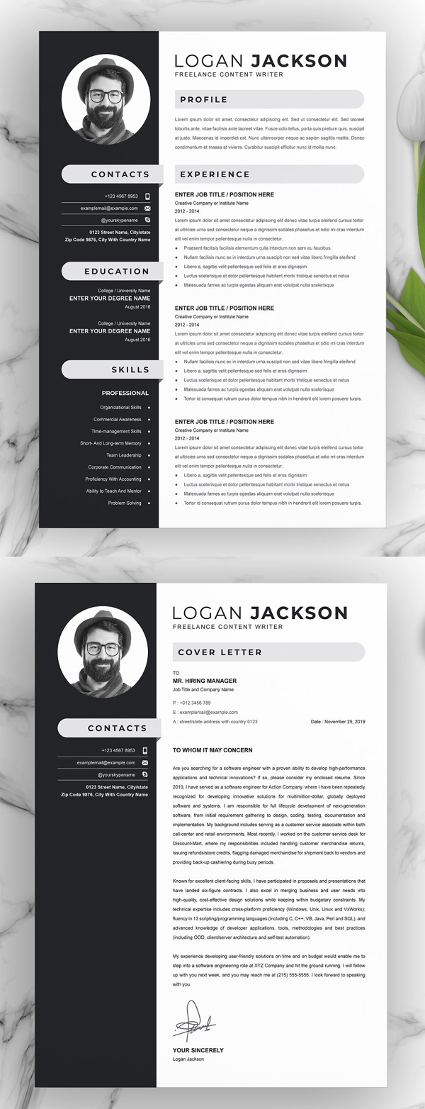 Professional Resume Template & Photo