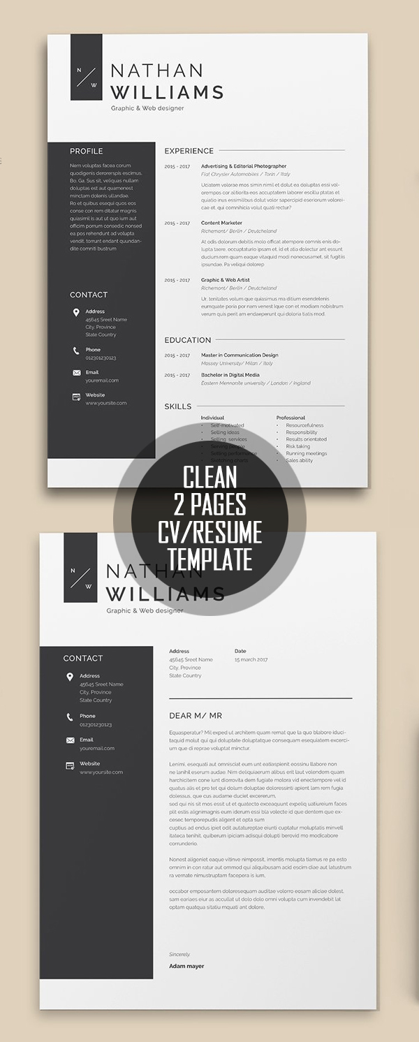 Clean 2 Pages Resume Template