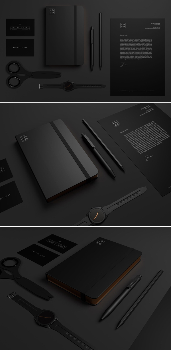 Minimal Black Stationary Mockups