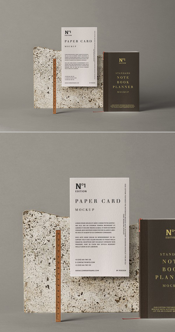 Free Notebook Stationery Mockup PSD