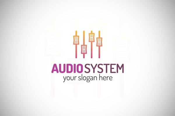 Audio system logo line art by Mira_i