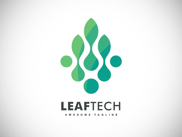 Abstract Leaf Tech Color Gradient Logo Design