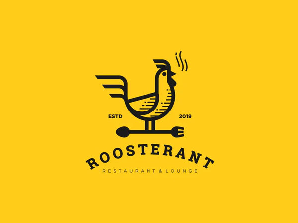 Rooster Line Art Style Logo Template