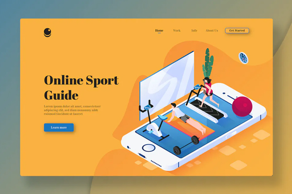 Online Sport Guide - Isometric Landing Page