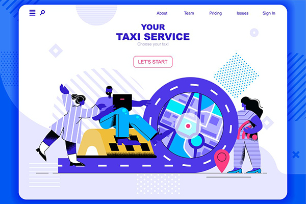 Taxi Service Flat Concept Landing Page Header