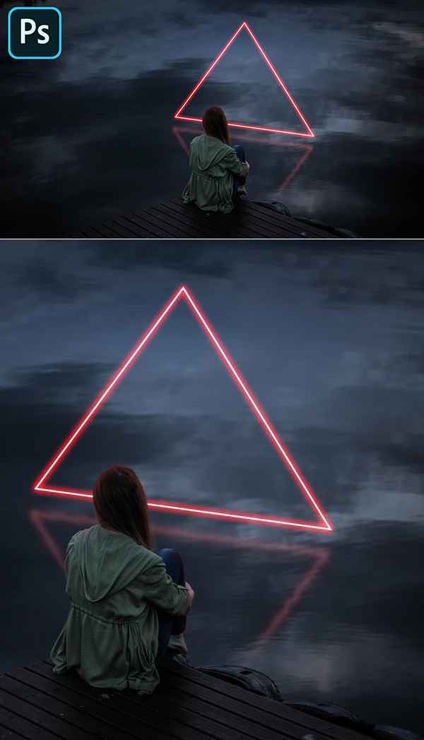 How to Create Triangle Neon Effect - Glow Light Manipulation in Photoshop Tutorial