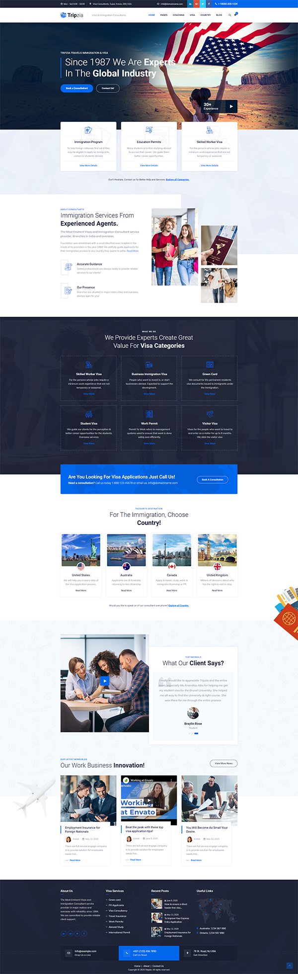 Tripzia -; Immigration Consulting WordPress Theme