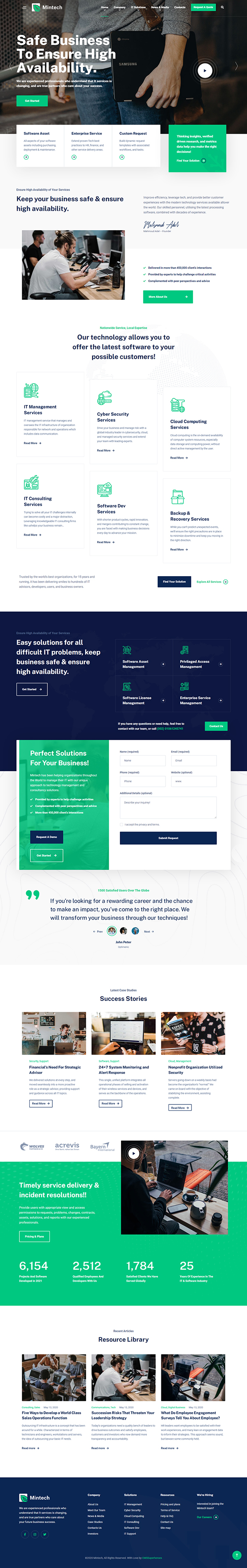 Mintech - IT Solutions & Services WordPress Theme