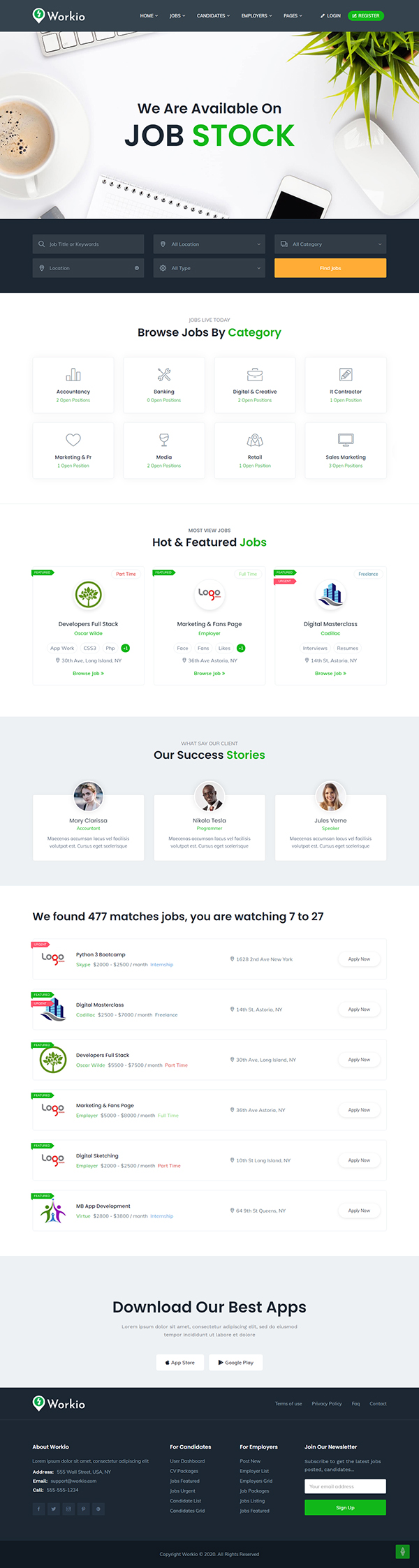 Workio -; Job Board WordPress Theme