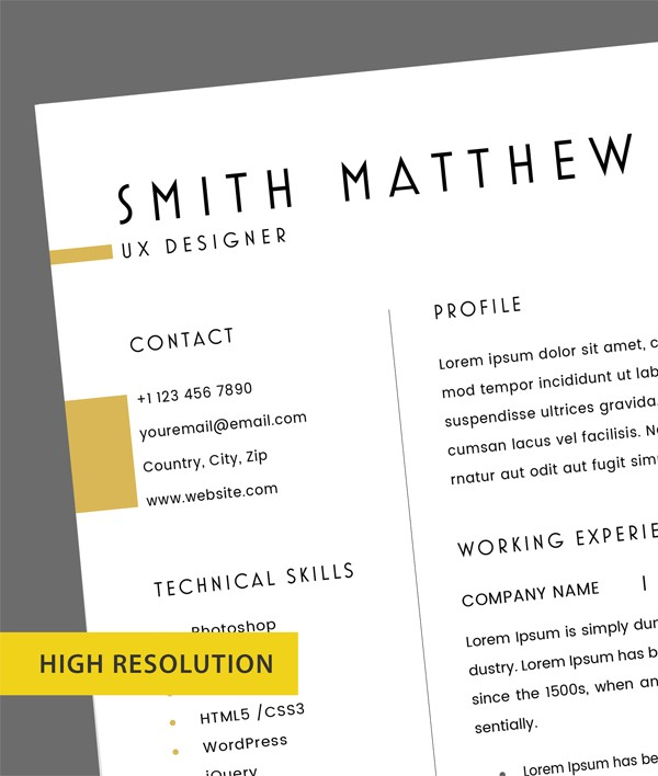 Free 2 Pages CV Resume Template + Cover Letter (PSD)