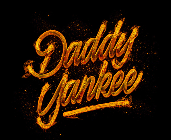 Daddy Yankees In Fire Lettering by Naniii