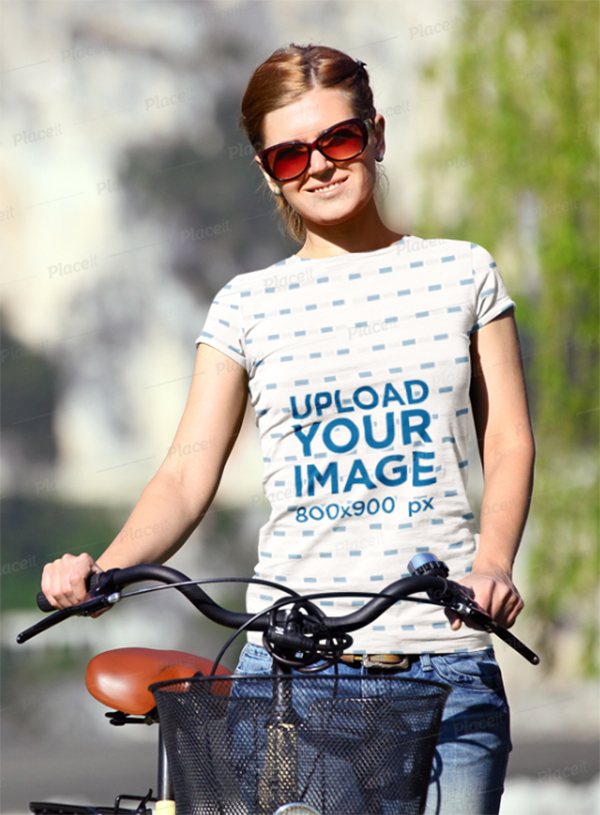 T-Shirt Mockup of A Young Woman