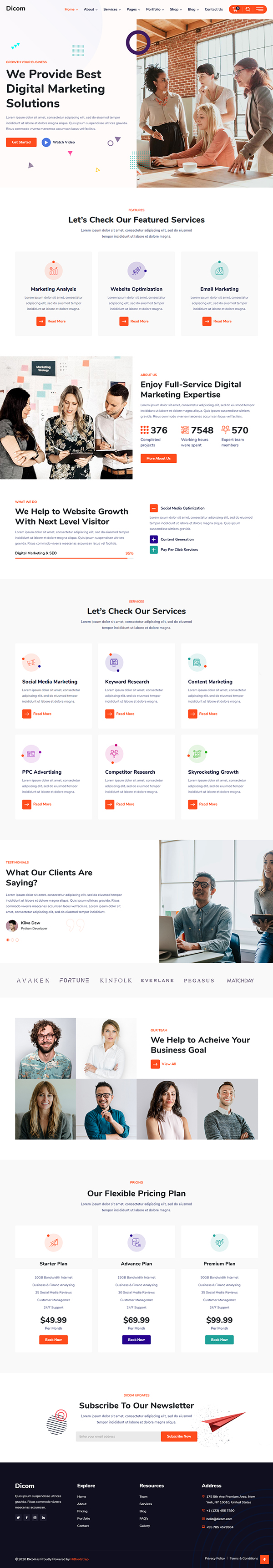 Dicom - Elementor SEO & Marketing Agency WordPress Theme