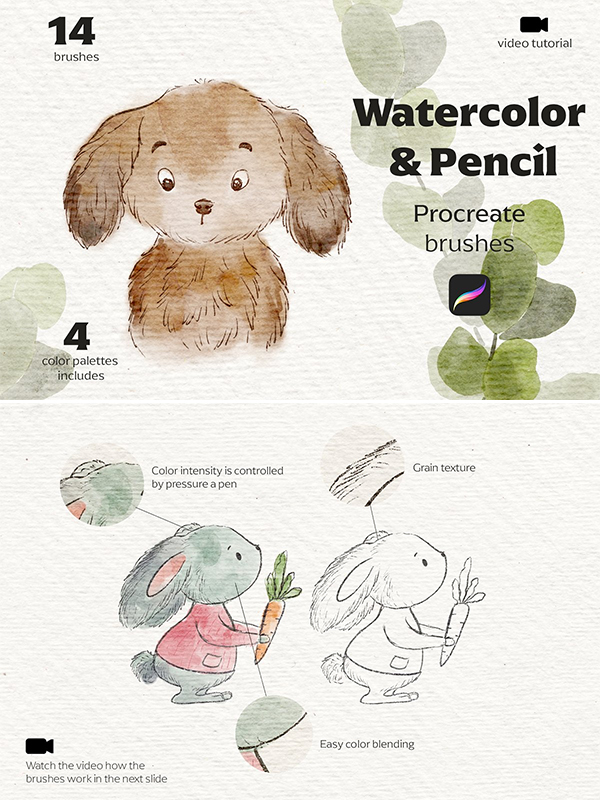 Watercolor Pencil Procreate Brushes
