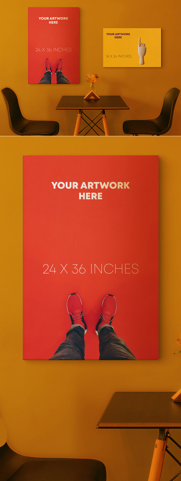 Free Canvas Poster Mockup PSD
