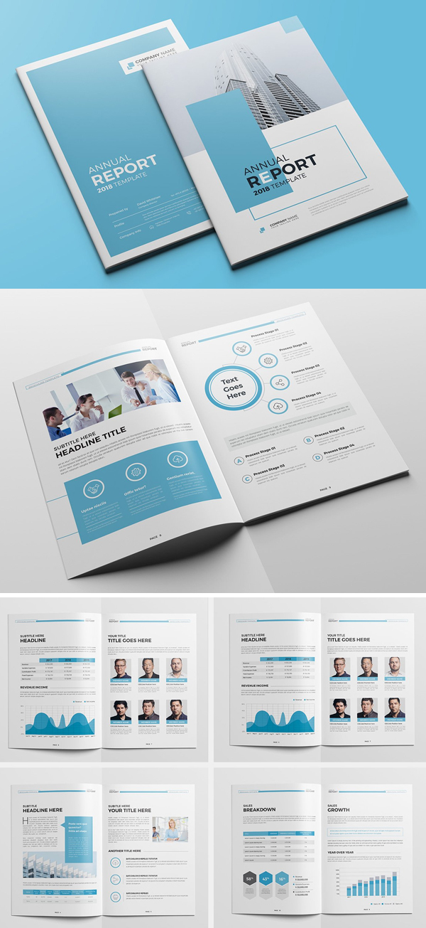 The Blue Annual Report Brochure Template